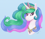 Princess Celestia Bust by LilyWinterharp