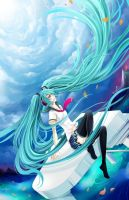 Hatsune Miku -stairs to Heaven by Cindiq