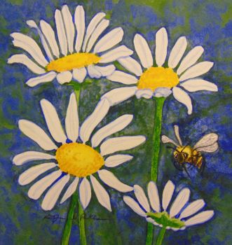 Daisies with Bee by KathrynPinkham