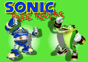 Sonic Free Riders - Vector and E-10000B -Wallpaper by BingotheCat