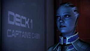 Liara T'Soni on Normandy by Hallucinogenmushroom