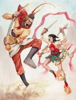 Sun Wukong vs. Nezha by soophen