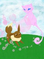 Eevee and Mew by kittywhiskas