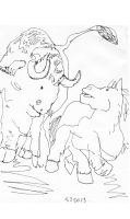 Drawing Of Bull And Horse by SamuelZylstra2
