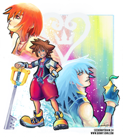 Sora, Riku, Kairi with speed painting! by BonnyJohn