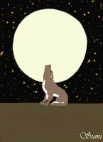 Howling wolf with full moon by DragonGirl1989