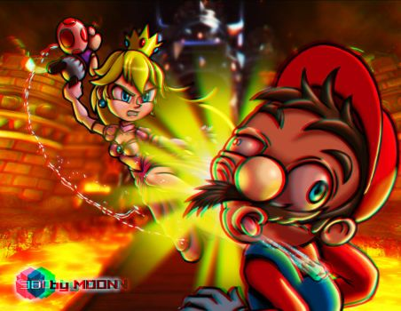 Princess Smash! - Anaglyph 3D by 3DbyMoon