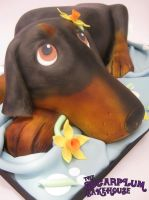 Doberman Wedding Cake by SugarplumB