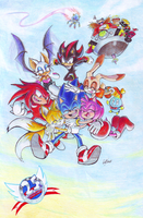 Sonic 25th Anniversary: colored by Auroblaze