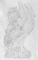 Dragon ornament drawing by BlueSmudge