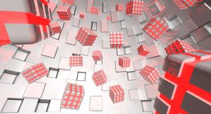 Red Flying Cubes by LiGhT-tHe-DaRk-88