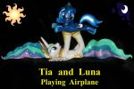 Tia and Filly Luna playing Airplane 16 inches by MadPonyScientist