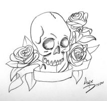 Skull With Roses and Banner by alexdicko