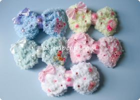 Fluffy Bow Hair Clip Brooch by CatNapCaps