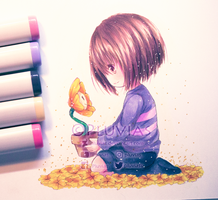Frisk and Flowey [+Speedpaint] by Pluvias