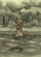 Fox in a Pond by Zethelius