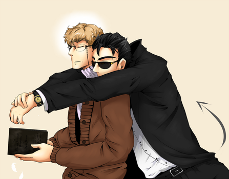 GOOD OMENS: Crowley and Aziraphale by swifteh1234
