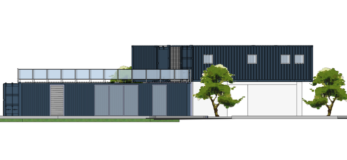 Container home - Frontal facade by saescavipica