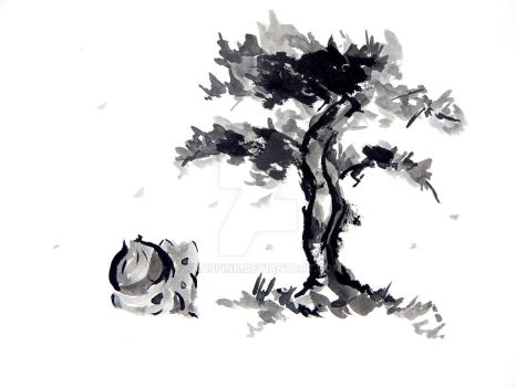 Bulbasaur in Sumi-e by KnappInk