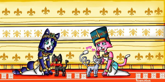 The egyptian queens and their pokemon cats by ninpeachlover