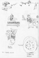 Sketches done in the square in Alajar by BythewayBill