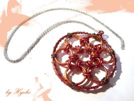 Orange flower pendant by Hyo-pon