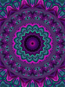Jewel Tone Fractal Kaleidoscope 2 by Kaleiope-Studio