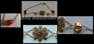 Golden tone flower,pink and yellow stones necklace by SilvieTepes