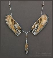 Siberian Eagle Owl Wings - Leather Necklace by windfalcon
