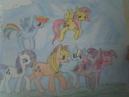 MLP: Daisy Loo with Mane 6 by XfangheartX