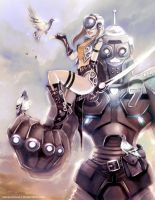 Robot - Pigeons - Cybergirl by danielmchavez