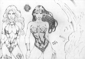 wonder woman and star fire by adrianocoldplay