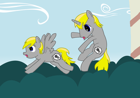 Opine and Opine Fall out of a Window by InkBlu