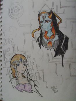Zelda and Midna by WhiteWolf888