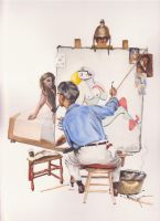 Picasso-Norman Rockwell Parody by Luthienshadows