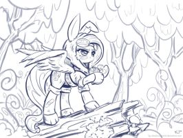 Dangershy! (lineart) by KP-ShadowSquirrel