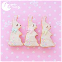Cookie rabbit brooch by CuteMoonbunny