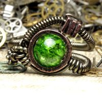 Alien Green Streampunk Ring by CatherinetteRings