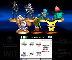 In Memoriam: Super Smash Bros. Characters by dragonnjmb