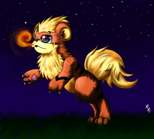 Nighttime is Playtime for Growlithe by RabidRabix