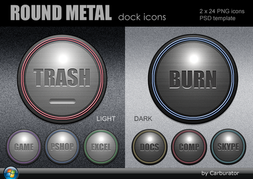 Round Metal dock icons by Carburator