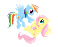Rainbow Dash and Fluttershy flying together by antoyuju