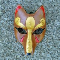Brown and Gold Kitsune Mask by merimask