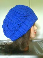 Blue cable slouchy hat by MinaThomas