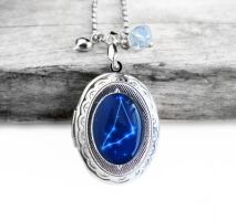Constellation Capricorn Resin Oval Locket Necklace by crystaland