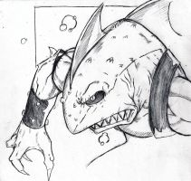 Sharkodile bubbly sketch by InfectedLobster