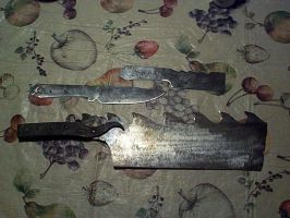 Cleaver and knives by sstheblacksmith