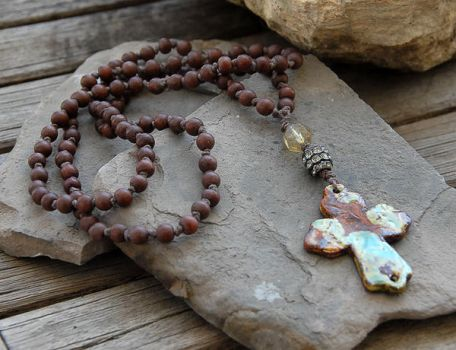 Pottery cross pendant, knotted wood bead necklace by deej240z