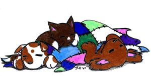 Two pups and a Kitty sleeping by Midniteoil-Burning