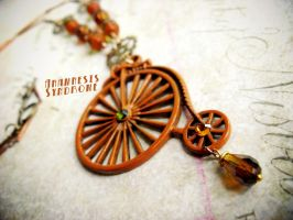 Penny Farthing bicycle necklace brown color by Verope
